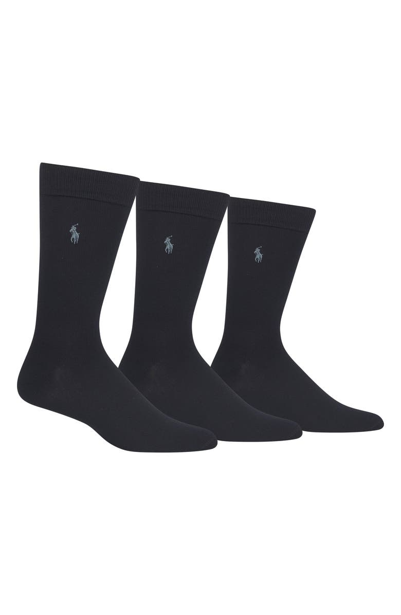 POLO RALPH LAUREN Assorted 3-Pack Supersoft Socks, Main, color, NAVY