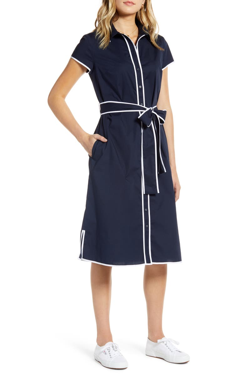 1901 Tipped Shirtdress, Main, color, NAVY SAPPHIRE