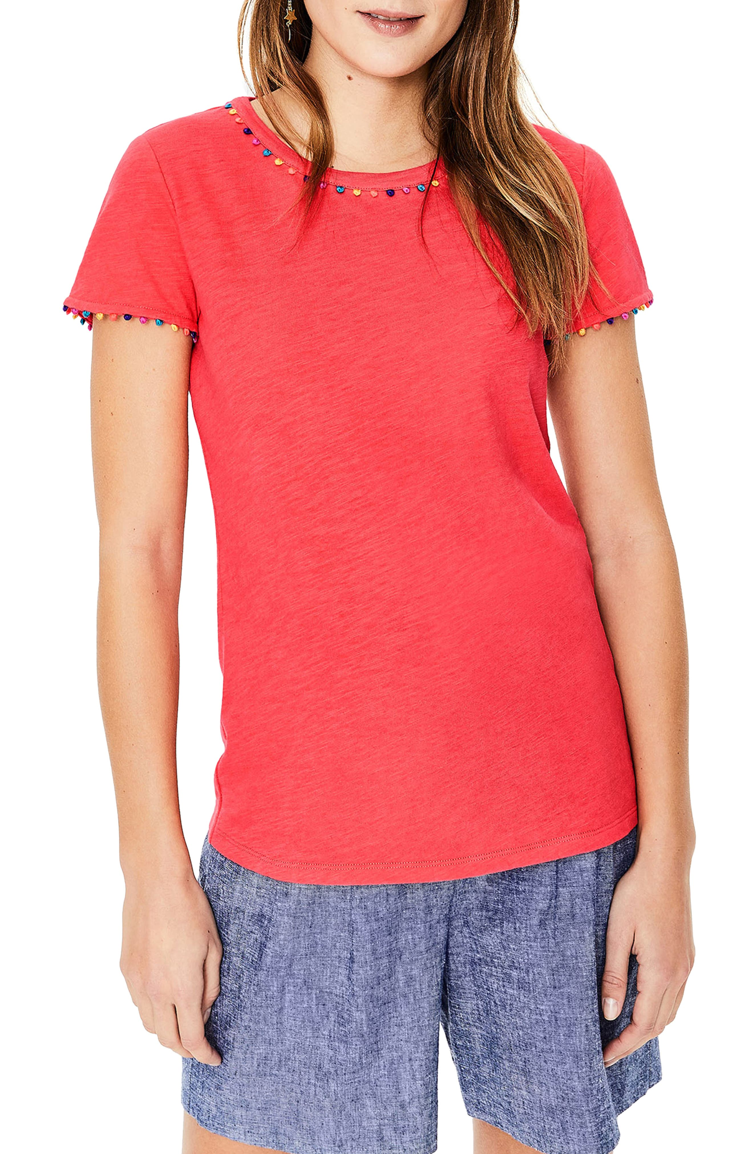 Boden Charlie Embroidery Trim Crewneck Tee, Pink