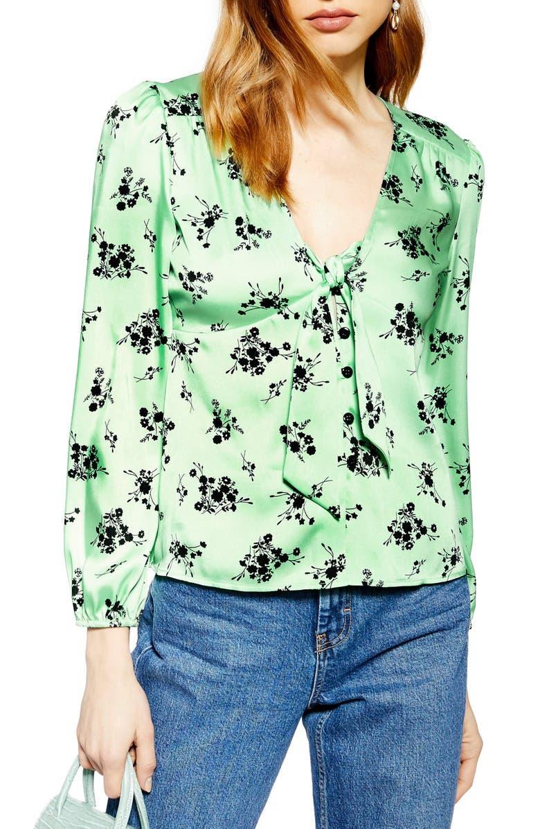 TOPSHOP Floral Print Tie Front Blouse, Main, color, 300