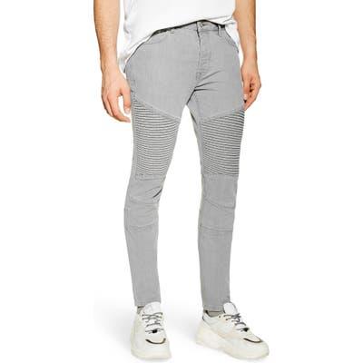 Topman Skinny Fit Biker Jeans, Grey
