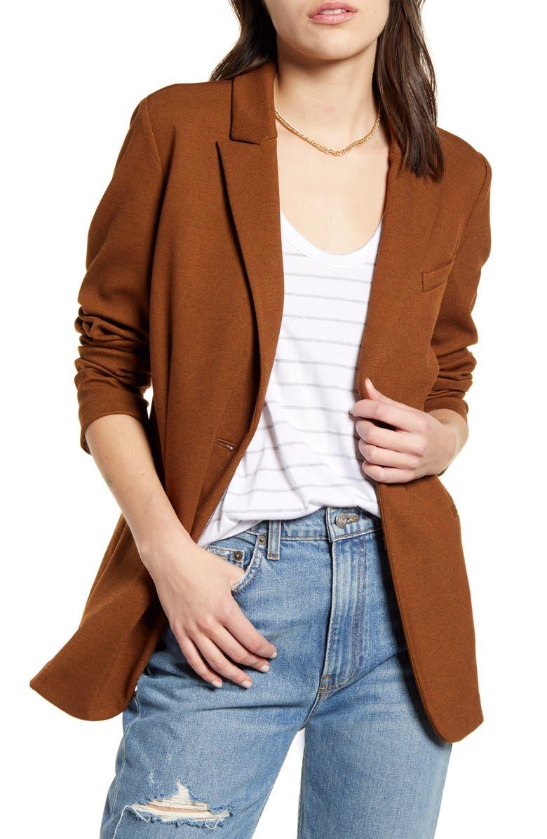 TREASURE & BOND Knit Blazer, Main, color, BROWN DACHSHUND