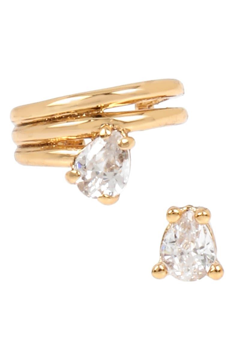 ALLSAINTS Ear Cuff & Stud Earrings Set, Main, color, GOLD