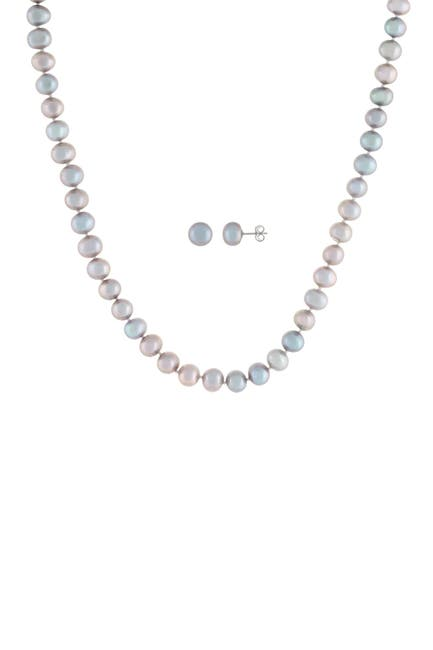 Image of Splendid Pearls Sterling Silver 2-Piece 8-9mm Gray Freshwater Pearl Necklace & Stud Earrings Set