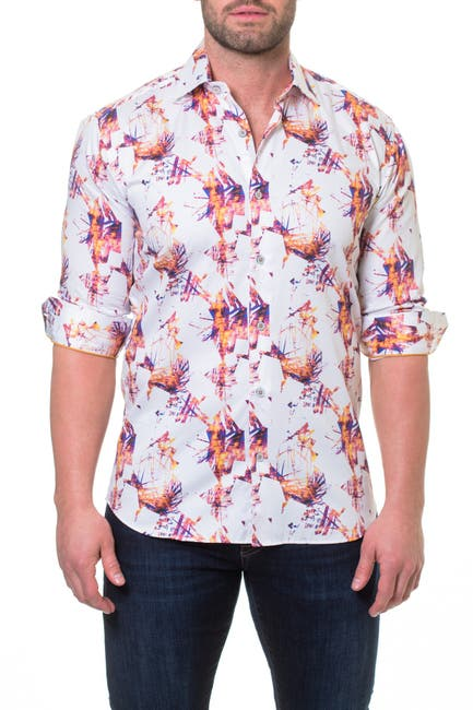 Image of Maceoo Luxor Firewood Orange Slim Fit Sport Shirt