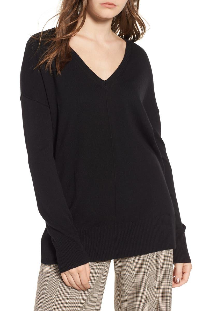 TROUVÉ Side Slit Sweater, Main, color, 001
