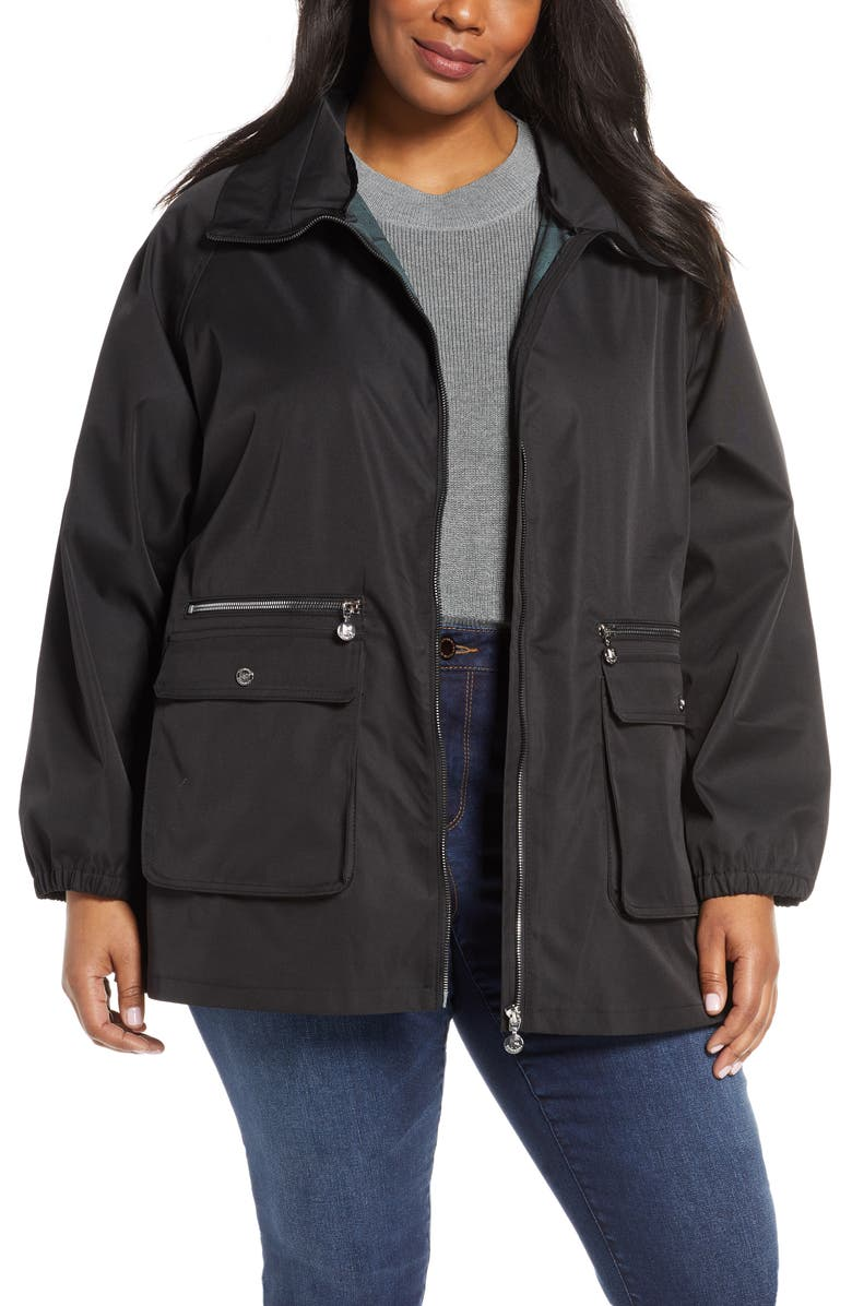 Bernardo Short Water Resistant Rain Jacket Plus Size