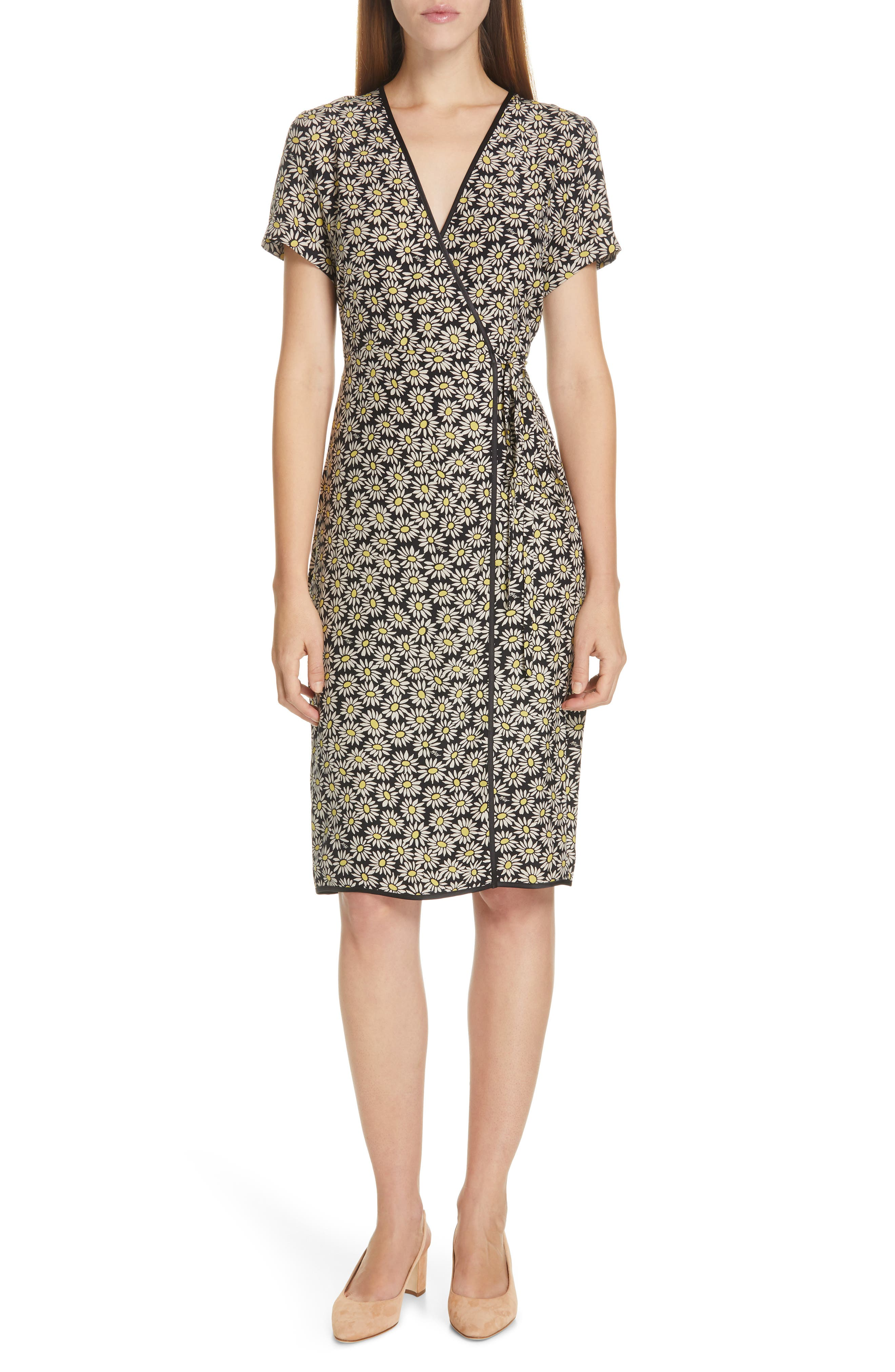 Hvn Vera Daisy Print Silk Wrap Dress, Black