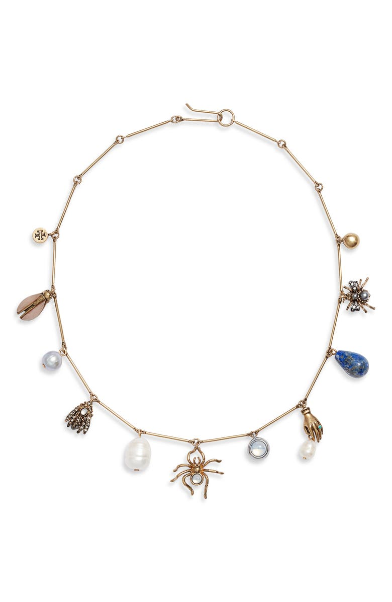 TORY BURCH Charm Collar Necklace, Main, color, 710