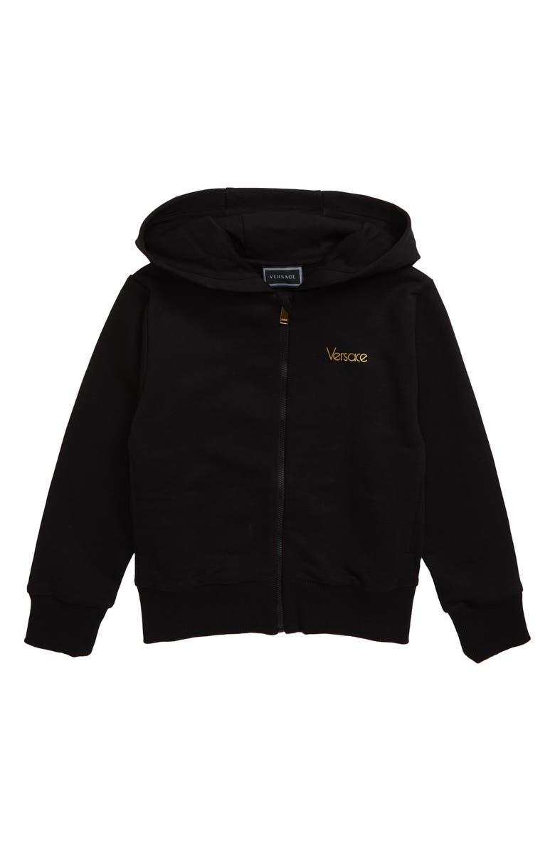 VERSACE Zip Hoodie, Main, color, BLACK/ GOLD