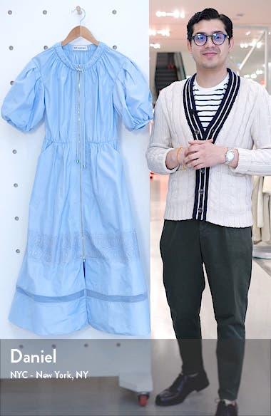 Puff Sleeve Zip Midi Dress, sales video thumbnail
