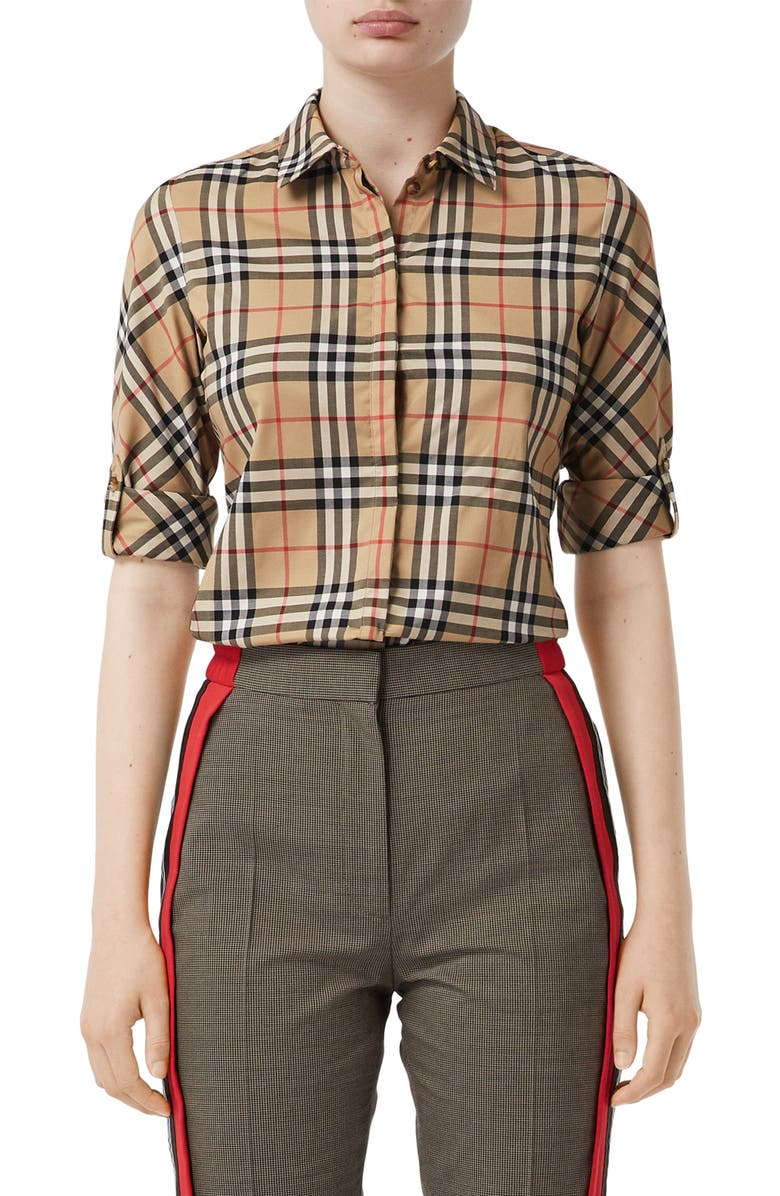 BURBERRY Luka Vintage Check Stretch Cotton Twill Shirt, Main, color, ARCHIVE BEIGE IP CHK