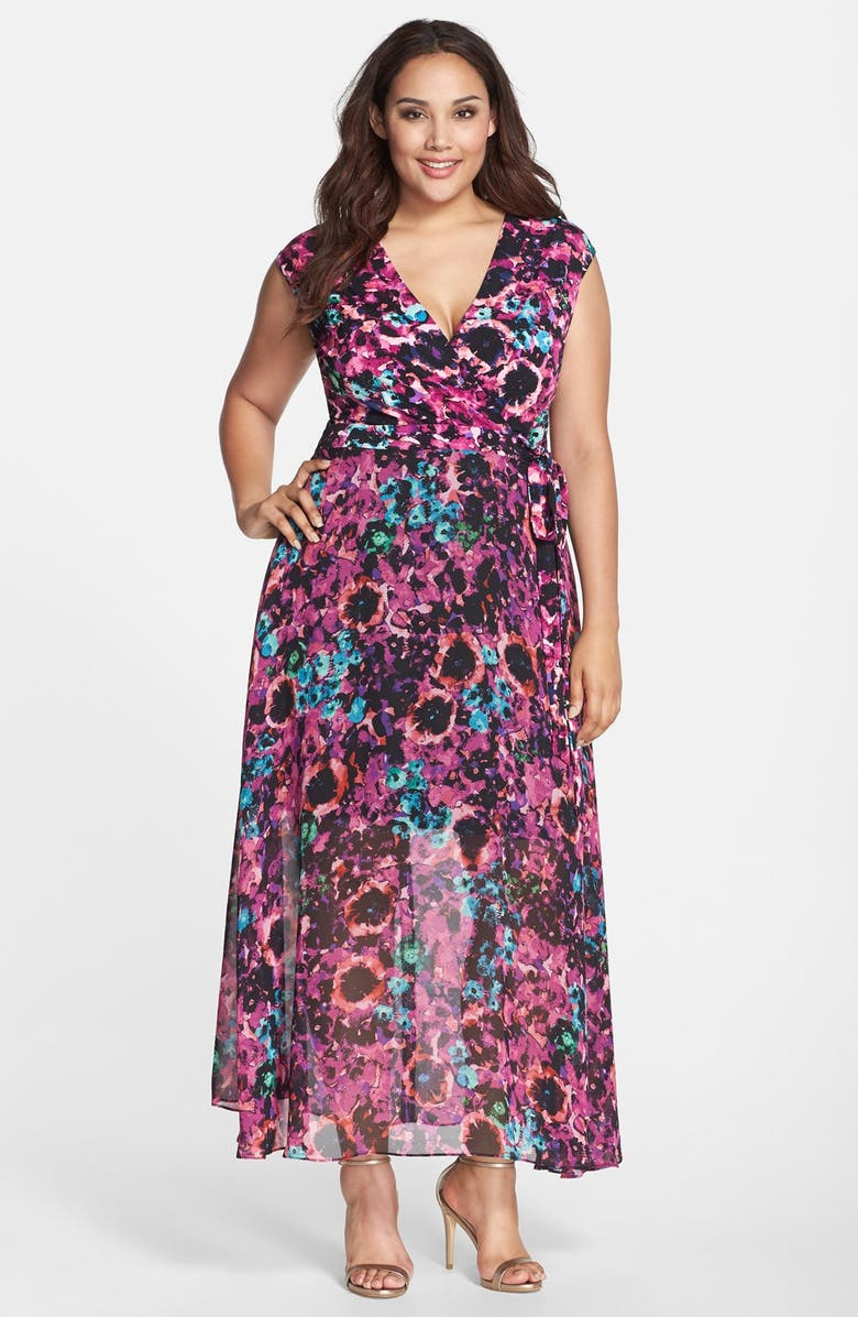 Floral Print Mixed Media Faux Wrap Maxi Dress