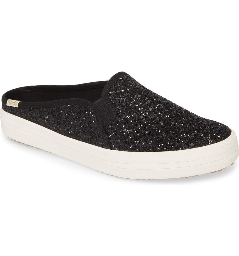 KEDS<SUP>®</SUP> FOR KATE SPADE NEW YORK Keds<sup>®</sup> x kate spade double decker glitter sneaker mule, Main, color, BLACK