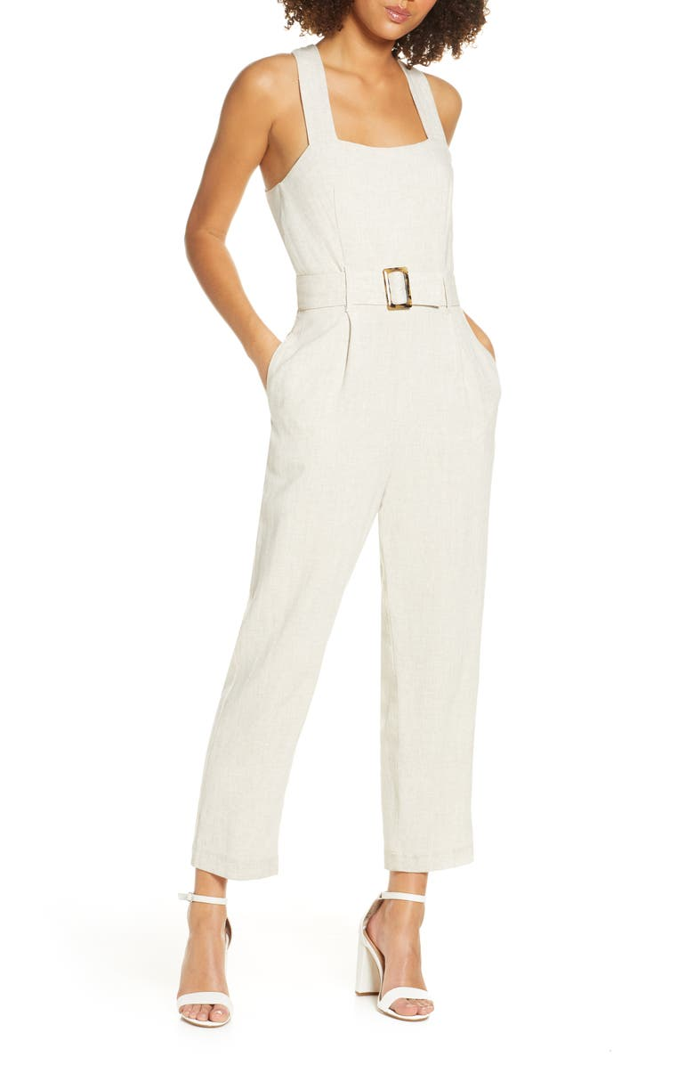 WILLOW Johnson Belted Jumpsuit, Main, color, SAND