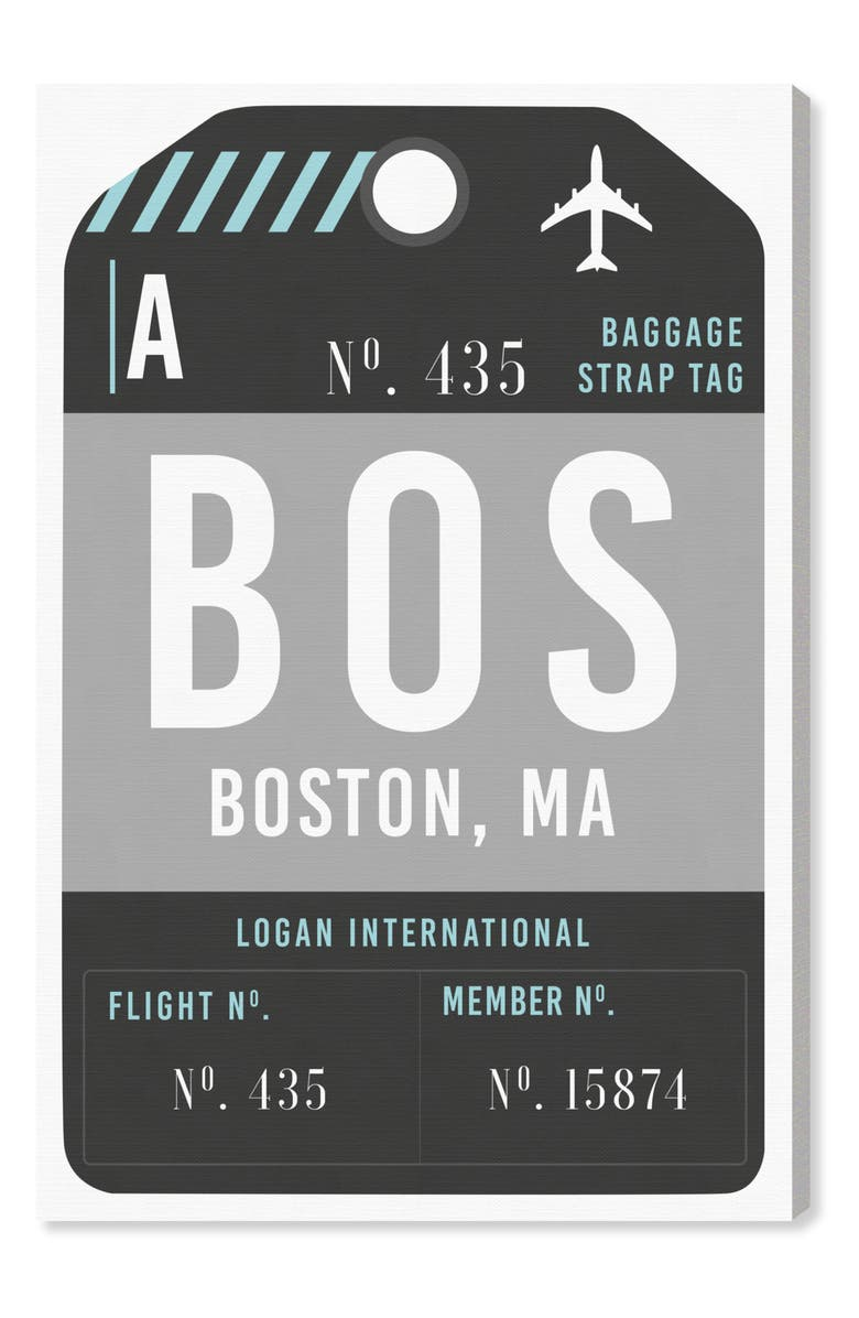 OLIVER GAL Boston Luggage Tag Wall Art, Main, color, BLACK