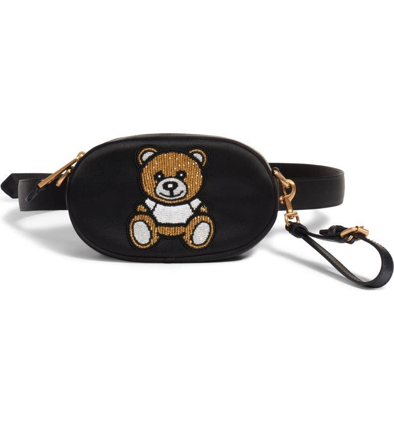 MOSCHINO Beaded Teddy Satin Belt Bag, Main, color, FANTASY PRINT BLACK