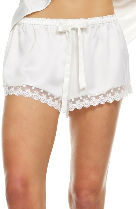 Flora Nikrooz Victoria Satin Lounge Shorts In Ivory