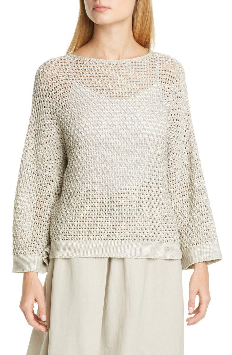 FABIANA FILIPPI Open Stitch Metallic Cotton Blend Sweater, Main, color, DARK BEIGE