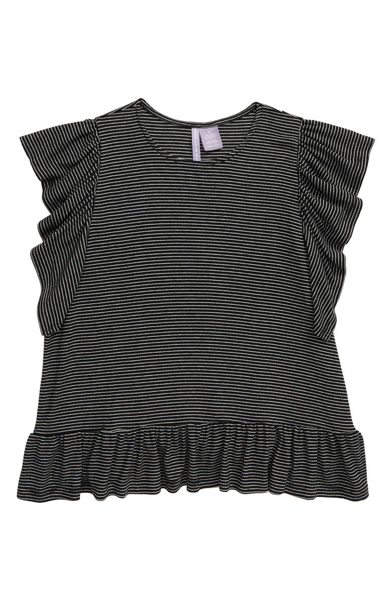 GOOD LUCK GIRL Ruffle Sleeve Top, Main, color, BLACK WHITE STRIPE