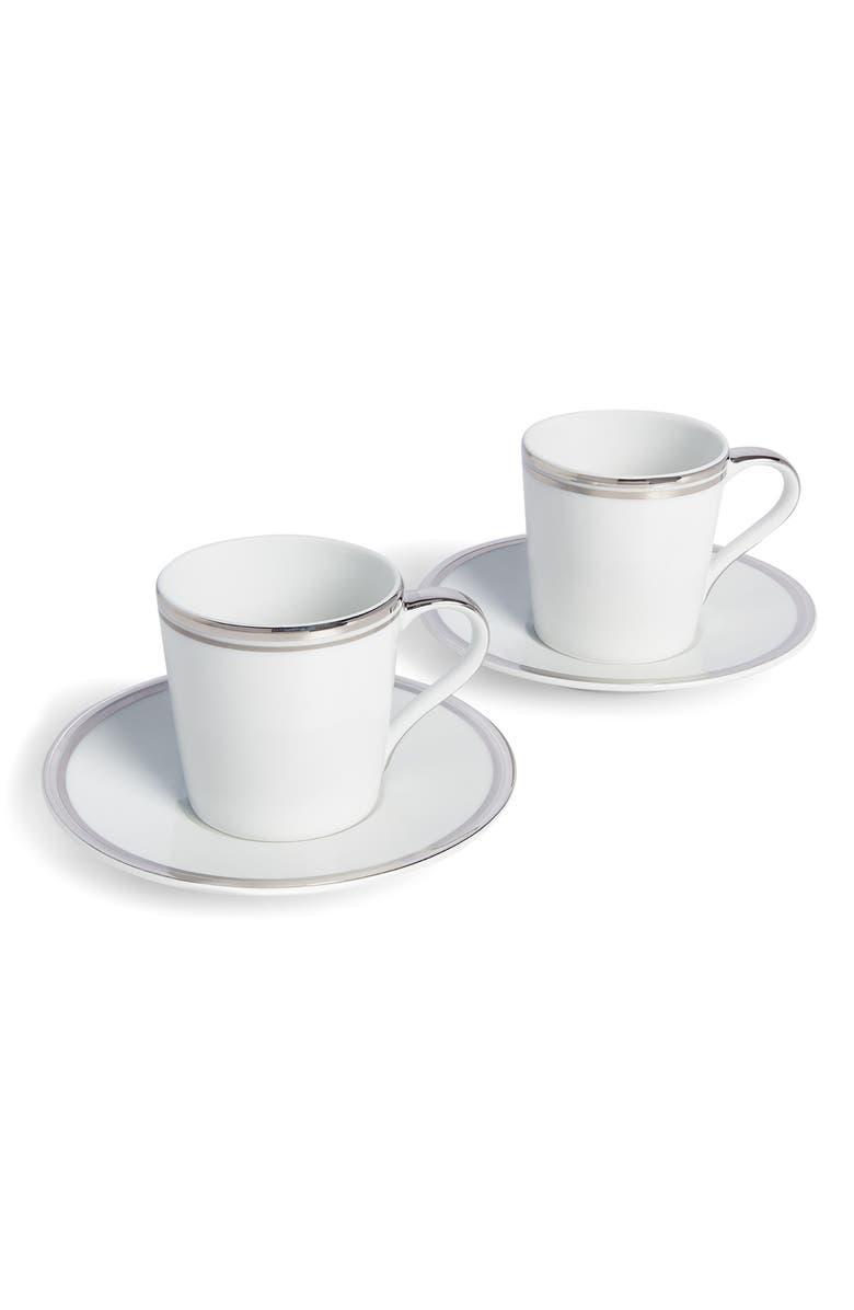 RALPH LAUREN Wilshire Set of 2 Espresso Cups & Saucers, Main, color, PLATINUM