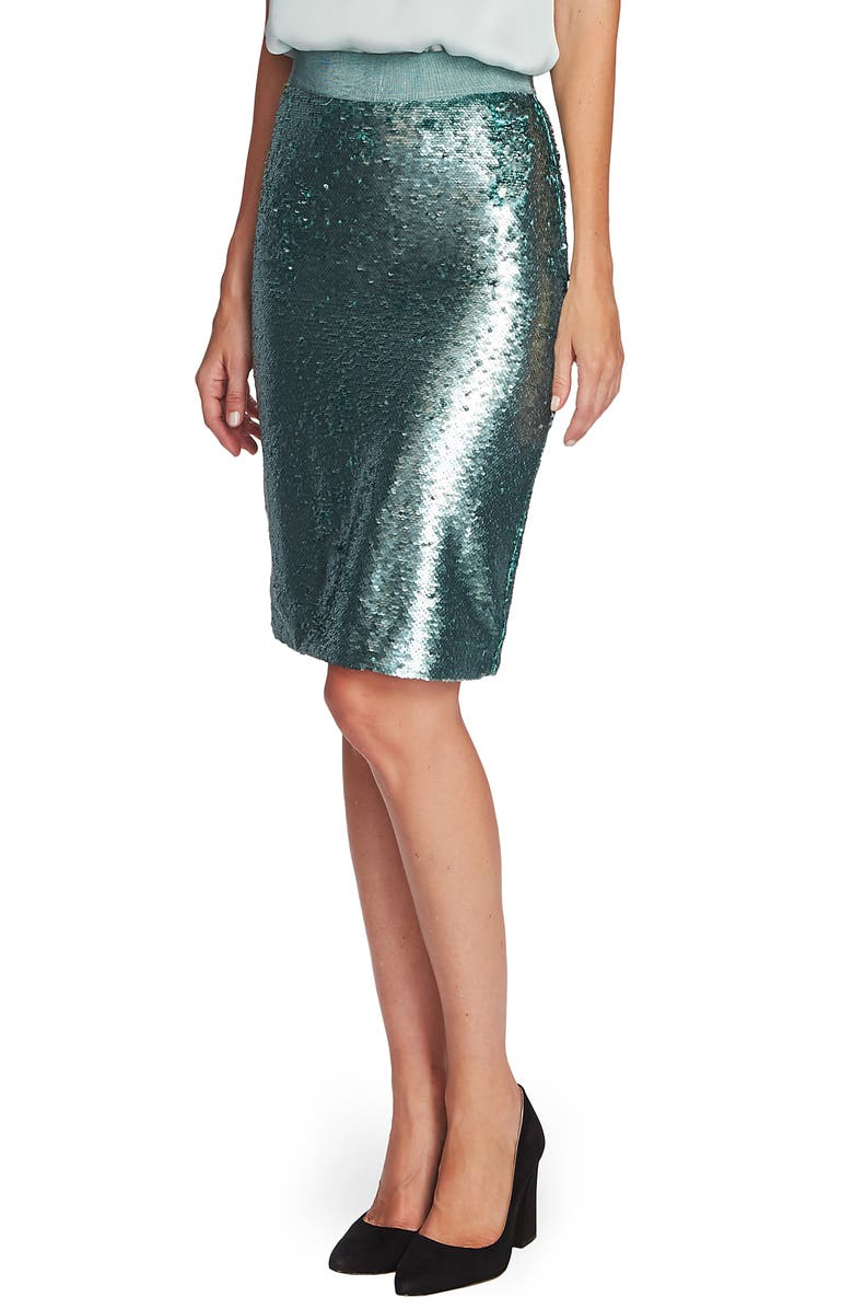 VINCE CAMUTO Sequin Pencil Skirt, Main, color, EUCALYPTUS