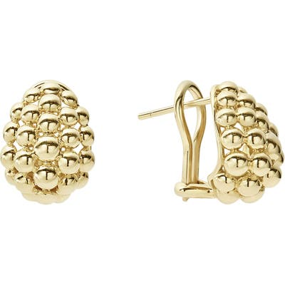 Lagos Caviar Gold Bold Medium Omega Earrings