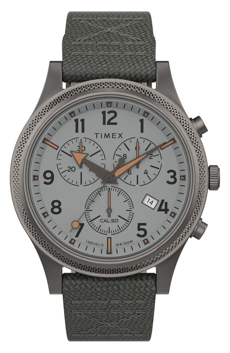 TIMEX<SUP>®</SUP> Allied LT Chronograph Nylon Strap Watch, 42mm, Main, color, GREY/ SILVER