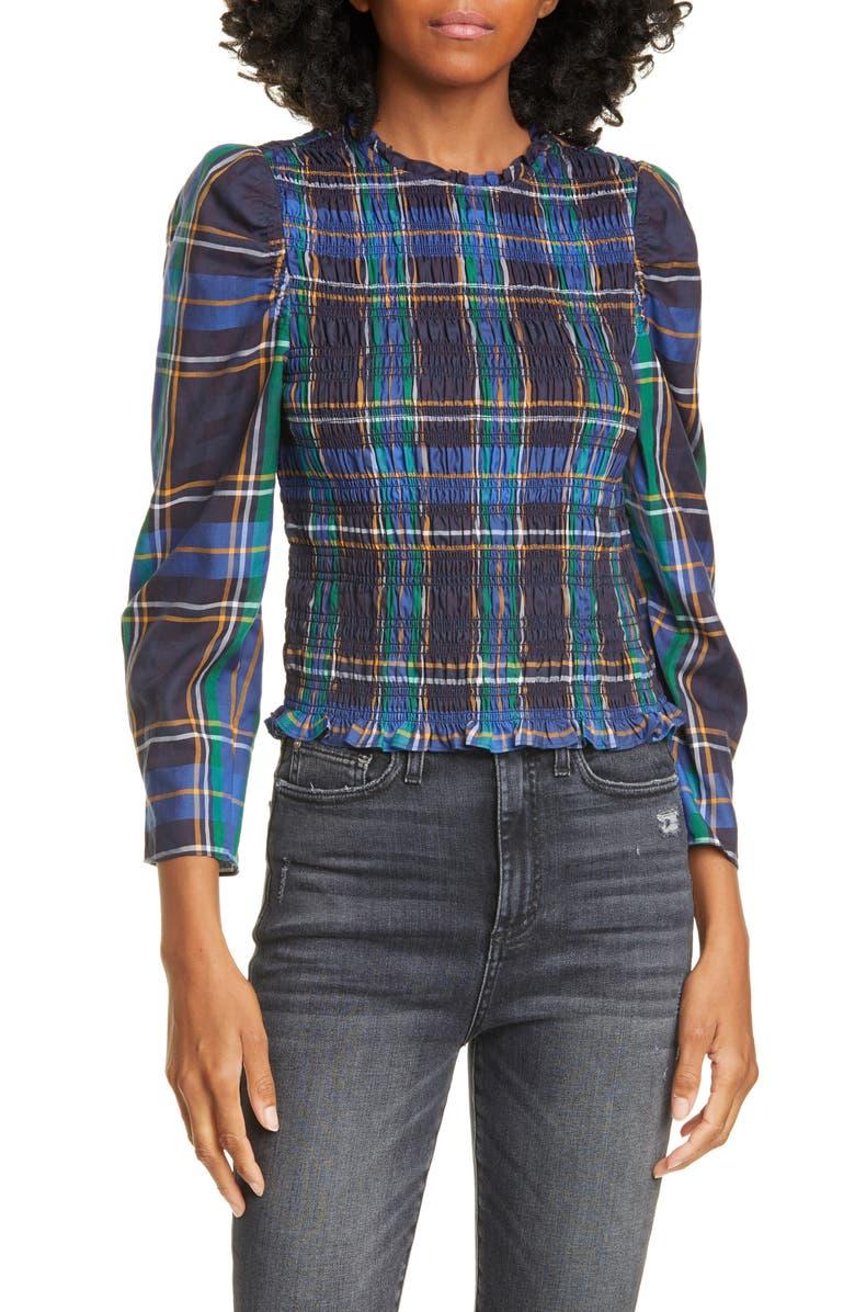 TANYA TAYLOR Tartan Smocked Blouse, Main, color, BLUE PLAID