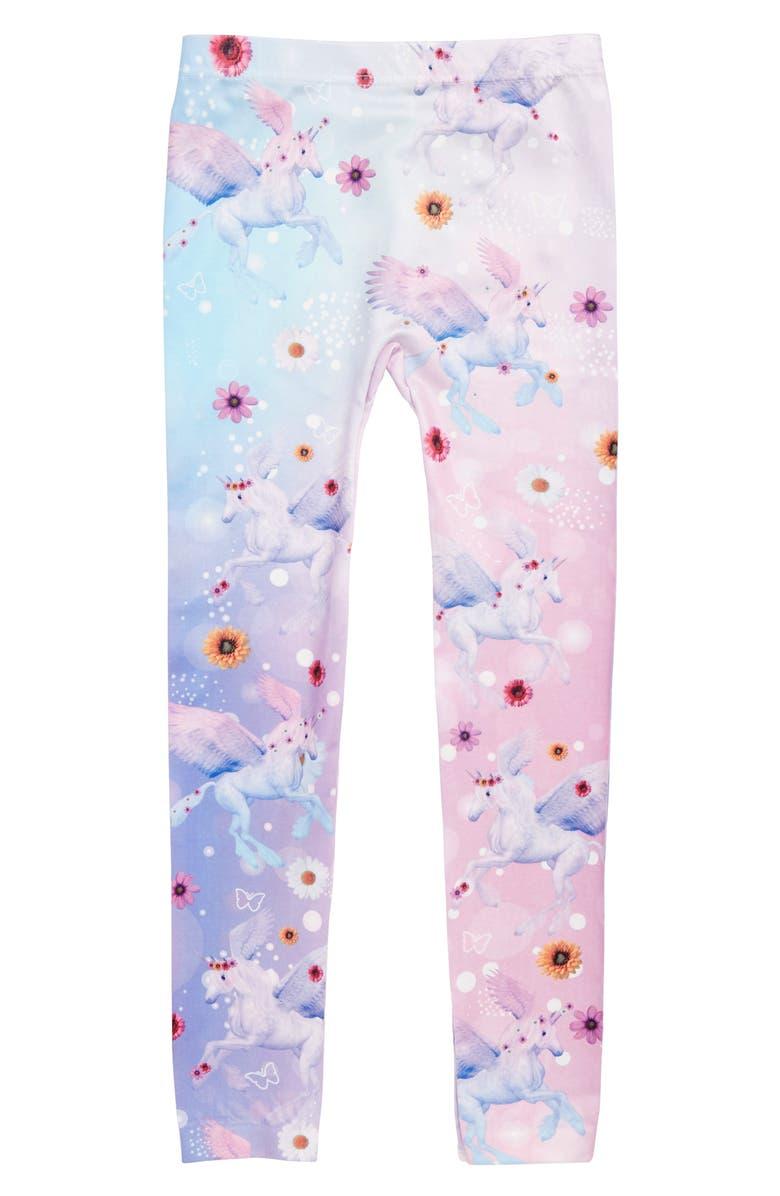 CAPELLI NEW YORK Floral Unicorn Leggings, Main, color, 650