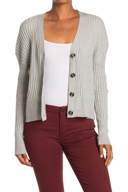 Image of Poof Ribbed Knit Button Front Cardigan
