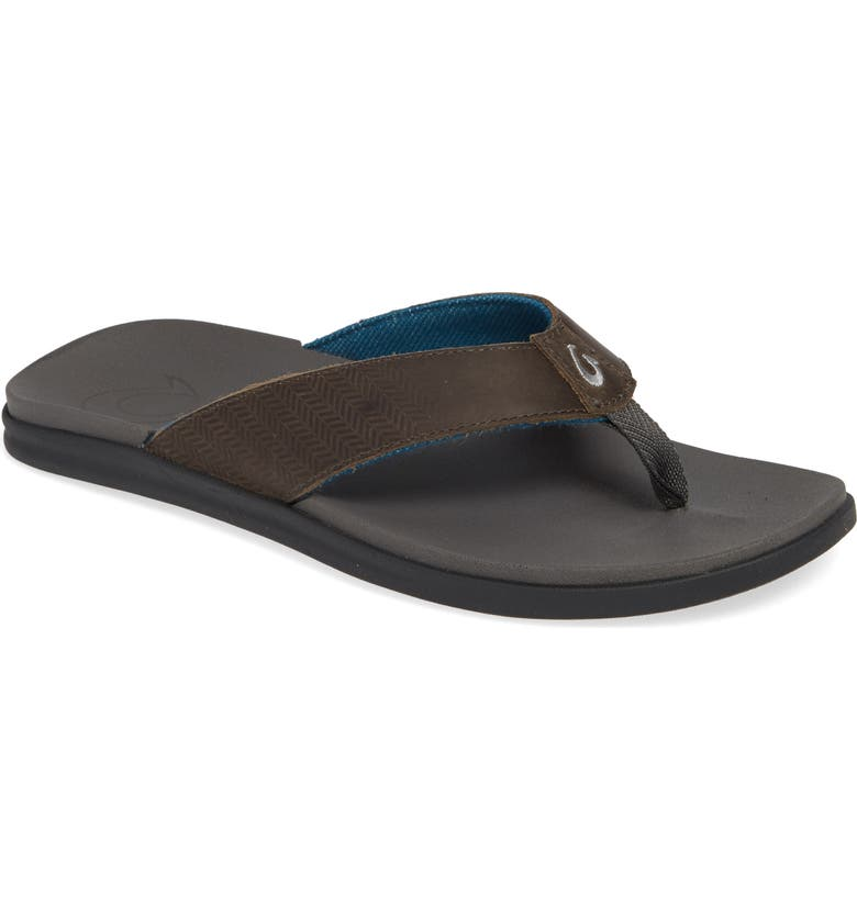 OLUKAI Alania Flip Flop, Main, color, CHARCOAL LEATHER
