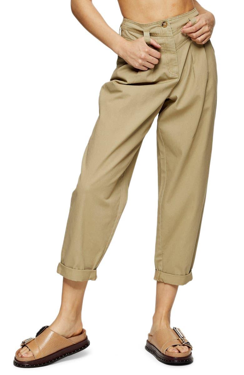 TOPSHOP Ella Tapered Crop Trousers, Main, color, KHAKI