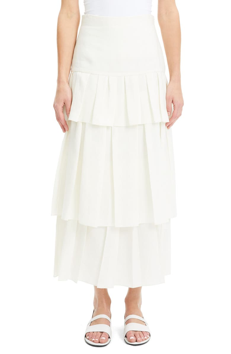 THEORY Tiered Ruffle Linen Skirt, Main, color, 100