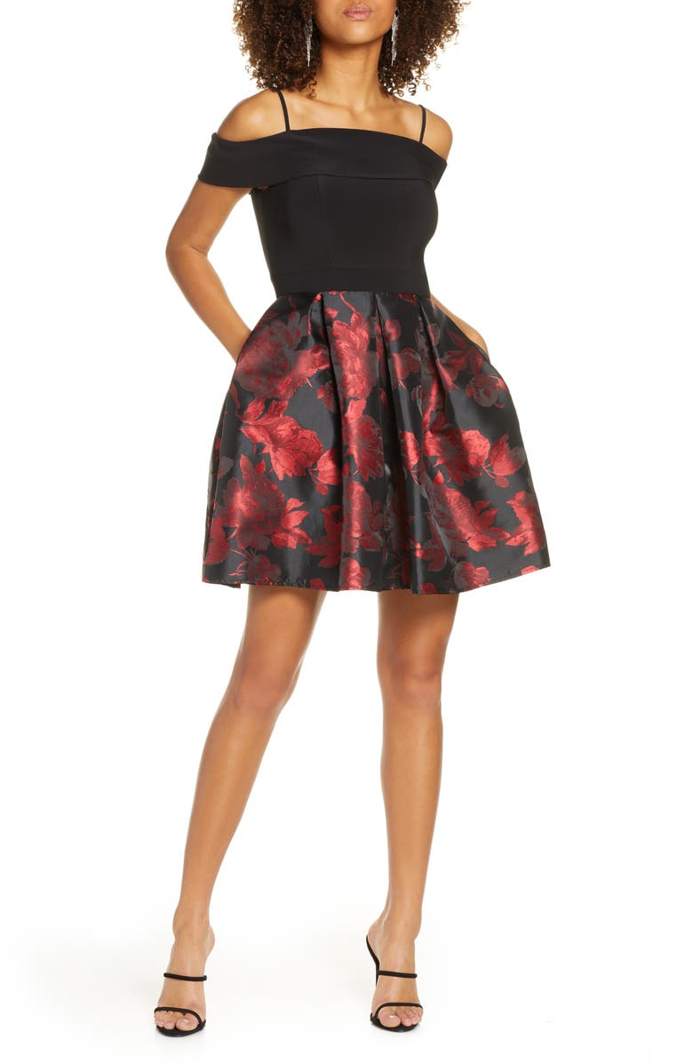 MORGAN & CO. Fit & Flare Dress, Main, color, BLACK/ RED
