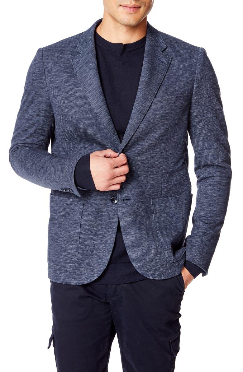 GOOD MAN BRAND Slim Fit Vintage Twill Knit Sport Coat, Main, color, SKY CAPTAIN / BLUE HEATHER