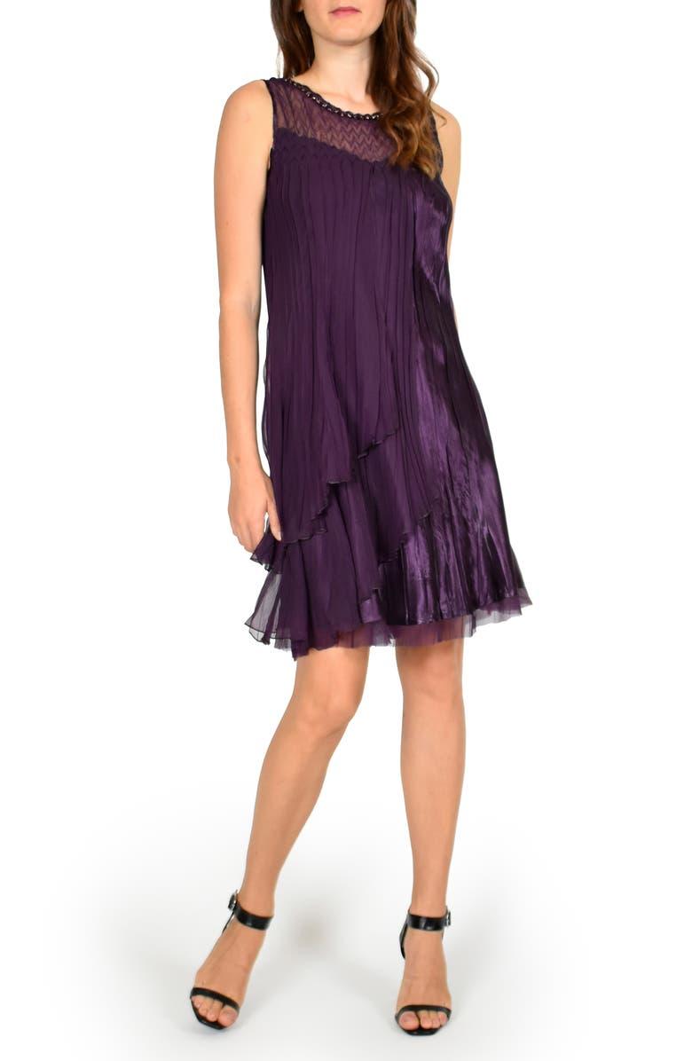 KOMAROV Flyaway Sleeveless Charmeuse Dress with Shawl, Main, color, AUBERGINE