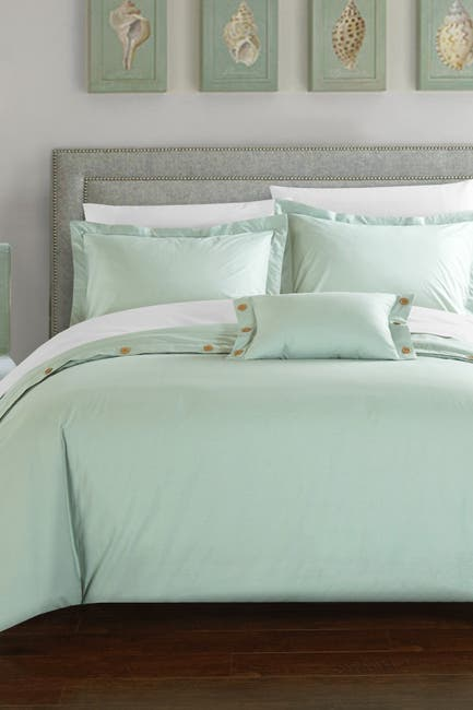 Image of Chic Home Bedding Aqua Odin 200 Thread Count Twill Weave Button Detail Queen Duvet Cover 4-Piece Set