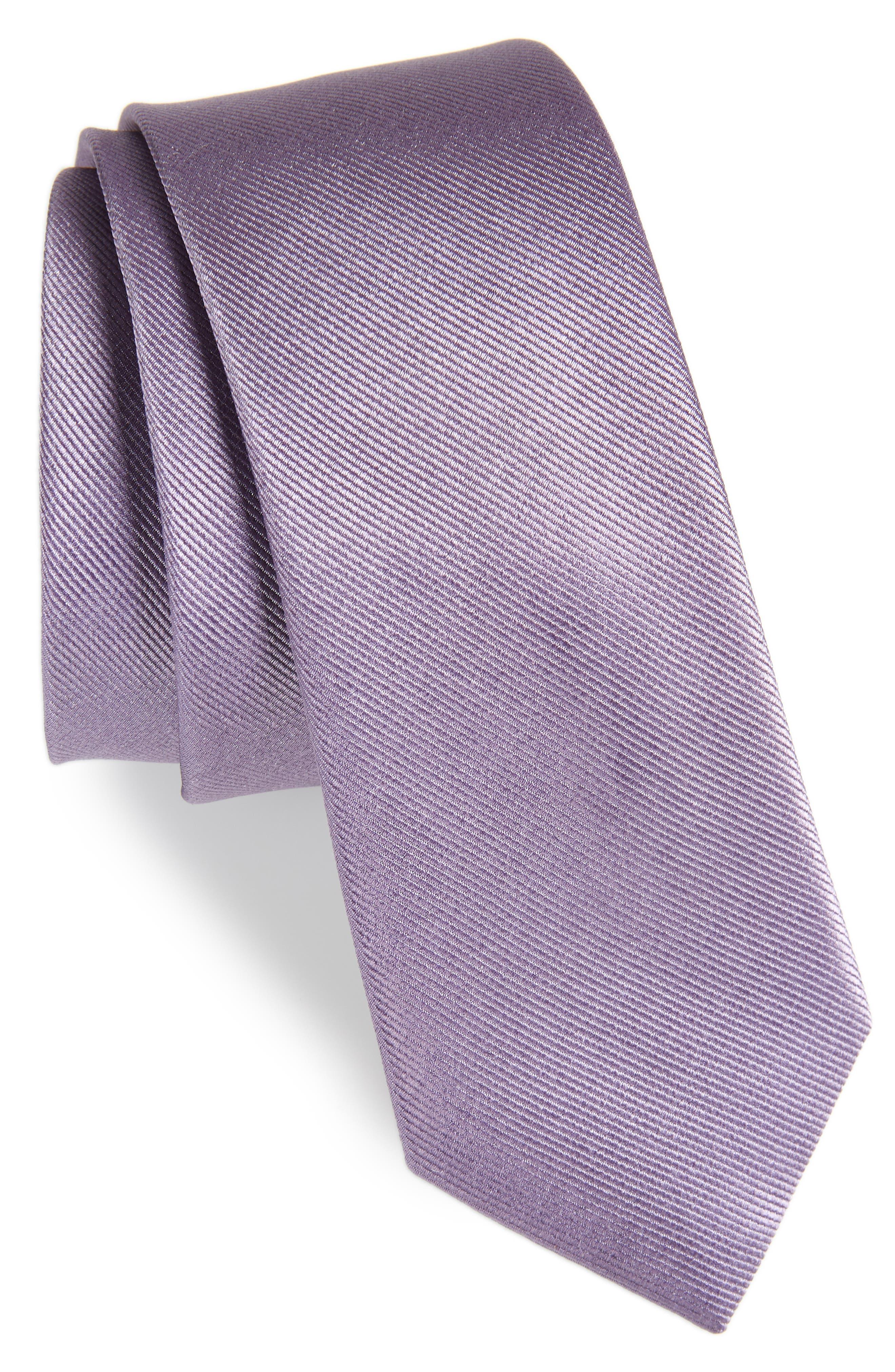 Solid Silk Skinny Tie, Main, color, LAVENDER