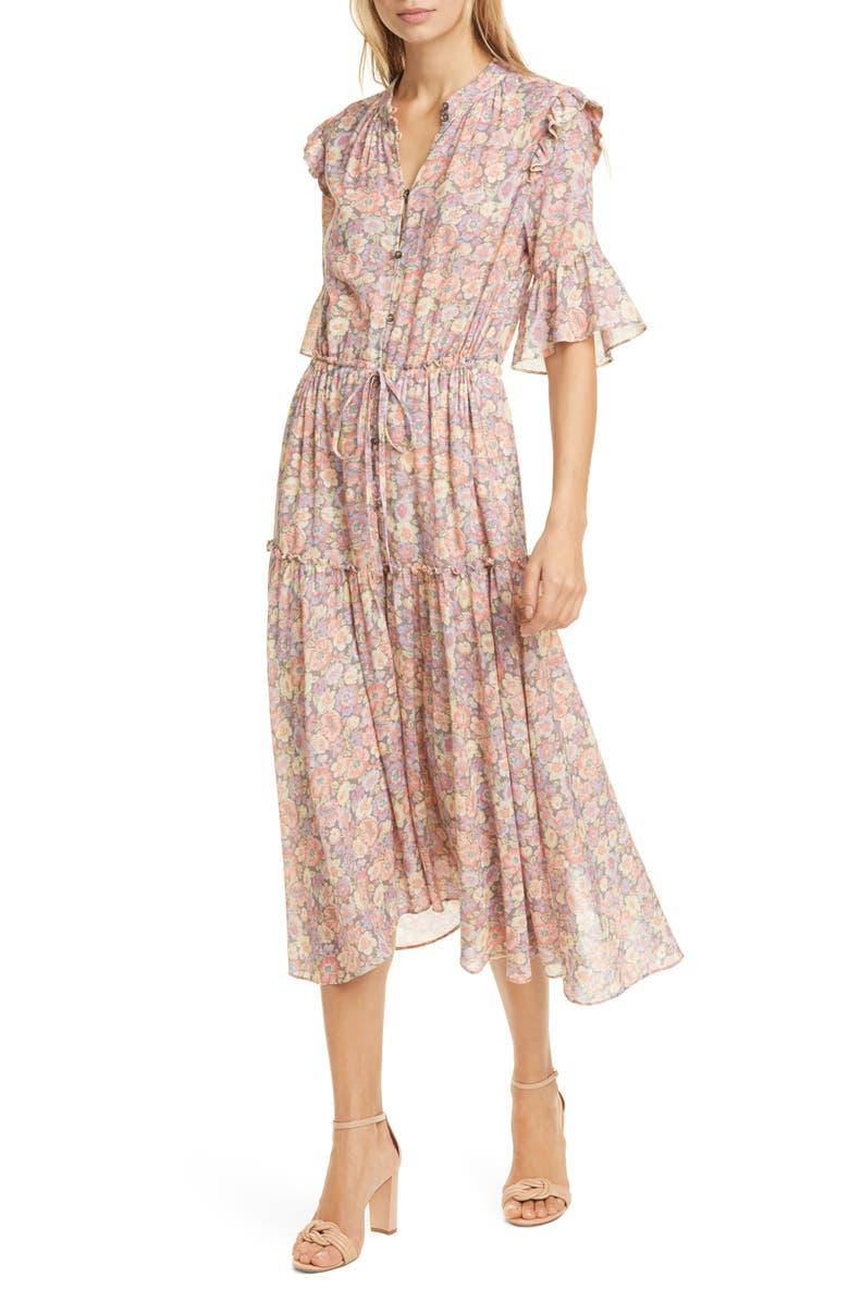 LA VIE REBECCA TAYLOR Josephine Midi Dress, Main, color, SLATE COMBO