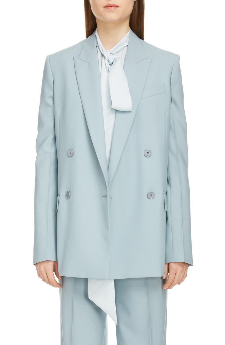 GIVENCHY Double Breasted Summer Wool Blazer, Main, color, GREY BLUE