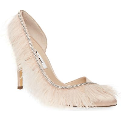 Nina Delcie Crystal Embellished Feather Pointed Toe Pump- Pink