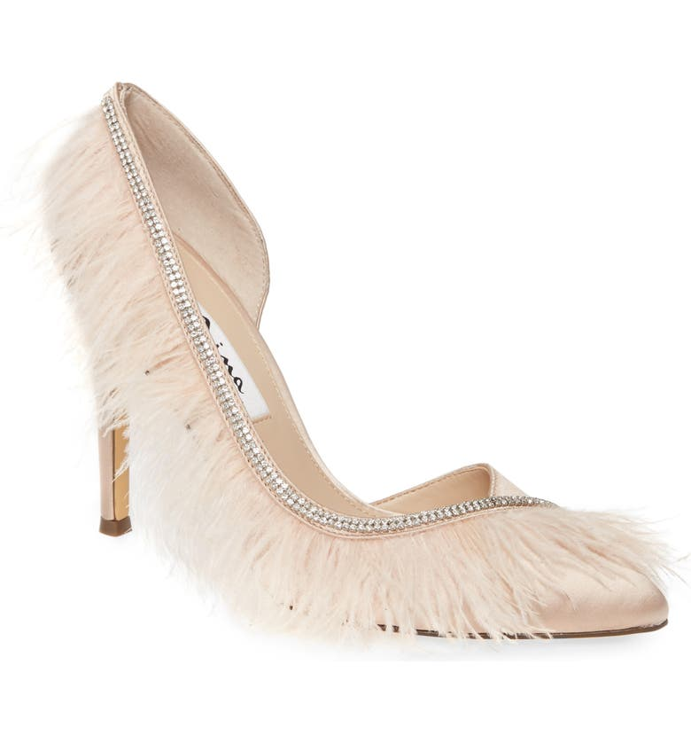 NINA Delcie Crystal Embellished Feather Pointed Toe Pump, Main, color, PEARL ROSE SATIN