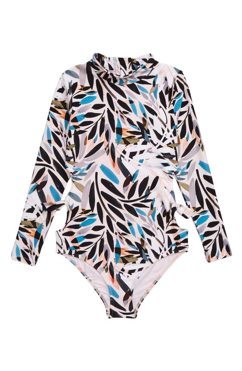 O'NEILL Nora One-Piece Rashguard Swimsuit, Main, color, WHITE