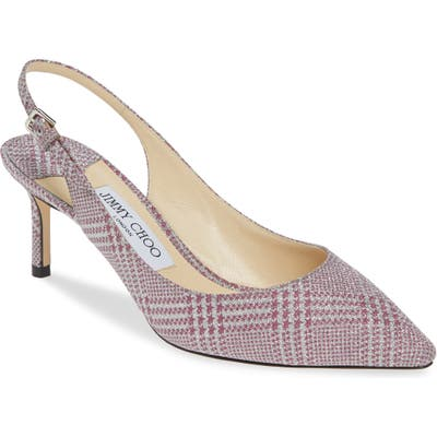 Jimmy Choo Erin Glen Plaid Glitter Slingback Pump - Pink