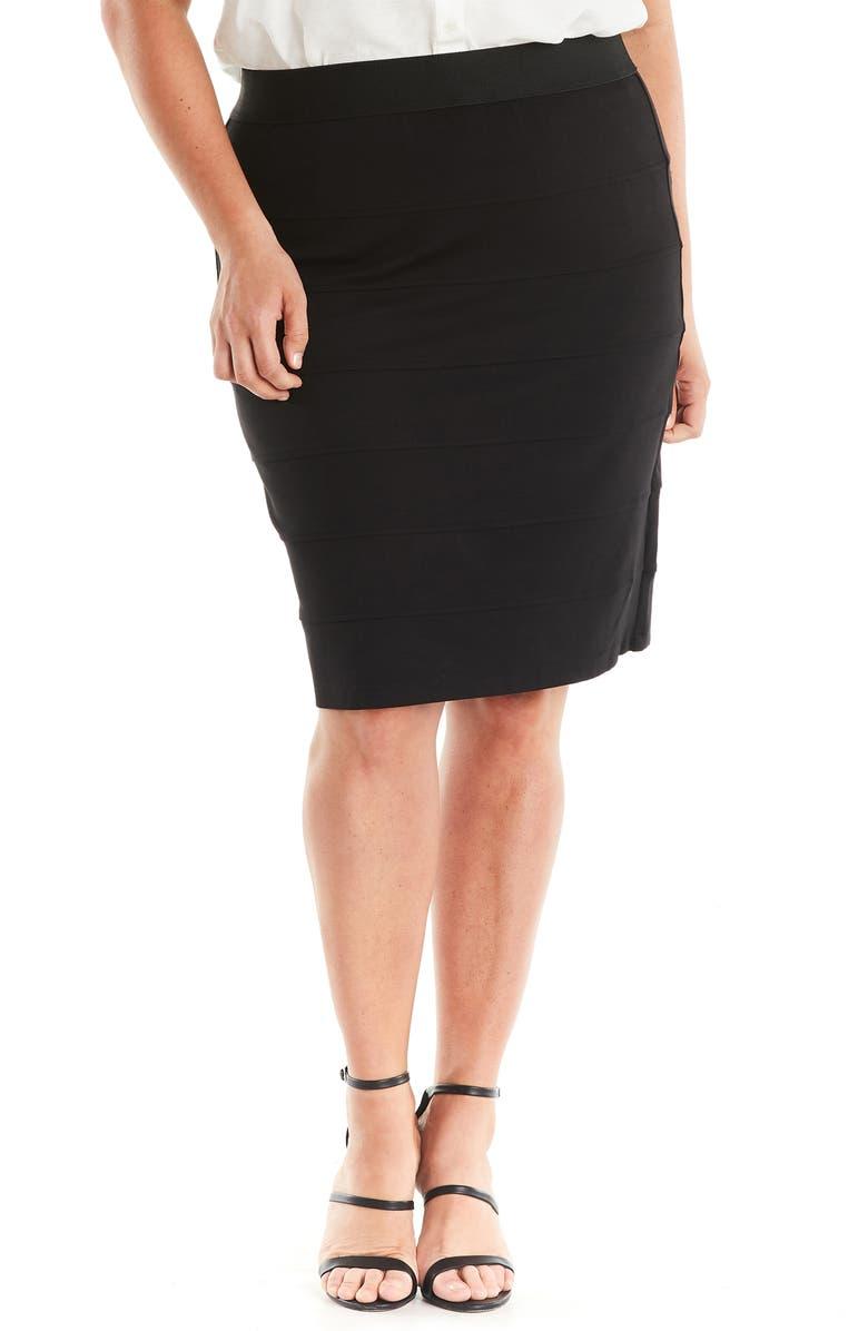 ESTELLE Trinity Seam Detail Skirt, Main, color, BLACK