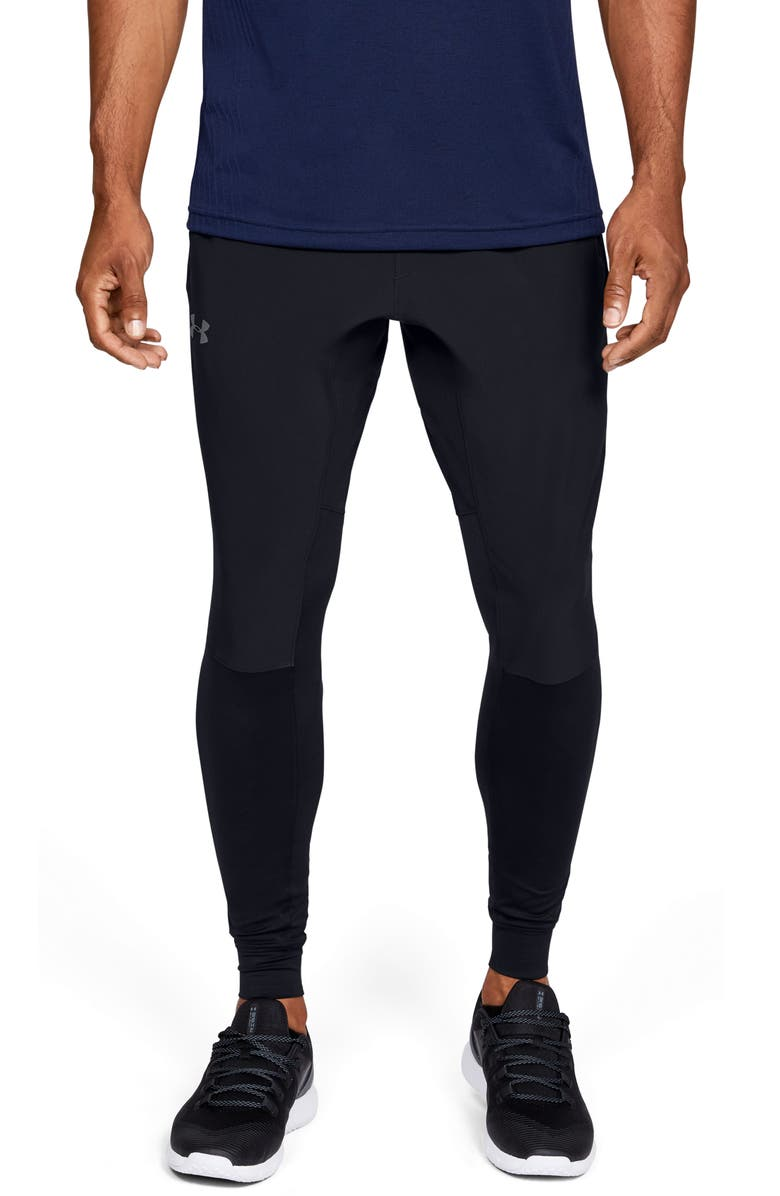 UNDER ARMOUR Hybrid Water Repellent Performance Training Pants, Main, color, BLACK/ PITCH GREY