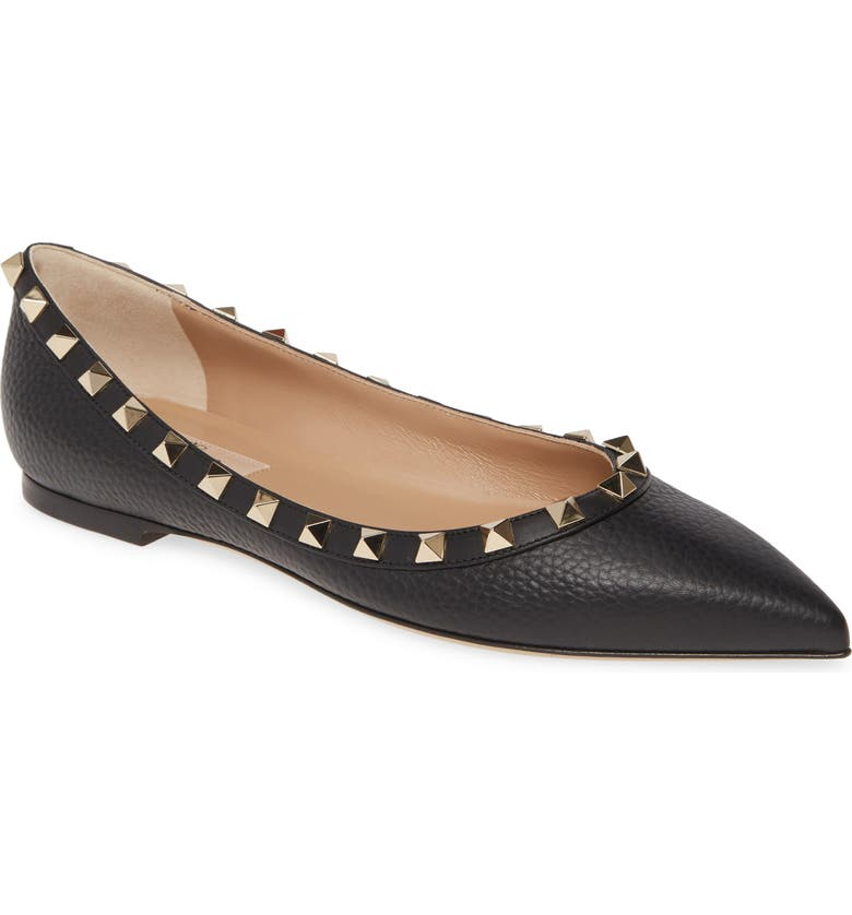 VALENTINO GARAVANI Rockstud Ballerina Flat, Main, color, BLACK LEATHER