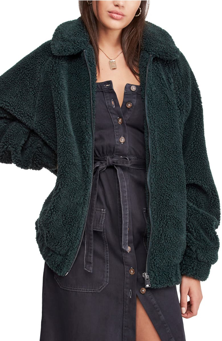 BDG URBAN OUTFITTERS Batwing Faux Shearling Jacket, Main, color, GREEN