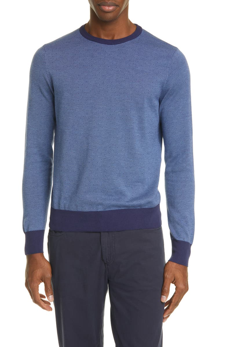 CANALI Classic Fit Dot Cotton Crewneck Sweater, Main, color, 410